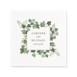 Elegant Ivy and Fern Greenery Wedding Napkin