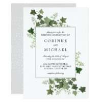 Elegant Ivy and Fern Watercolor Wedding Invitation