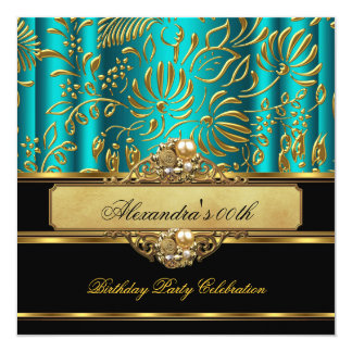 Elegant Jade Blue Green Gold Damask Pearl Party Card