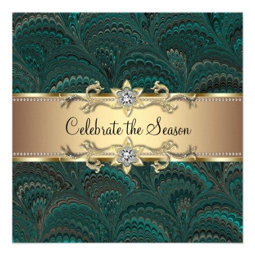 Elegant Jade Green Black Gold Christmas Party Invitations