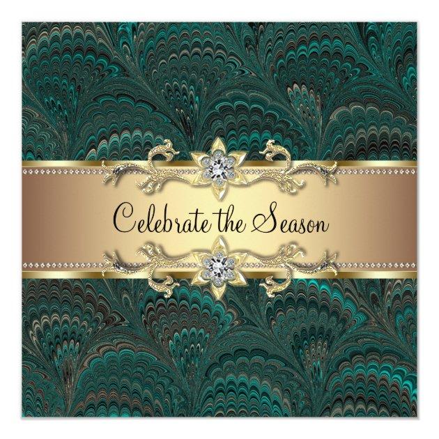 elegant jade green black gold christmas party invitation