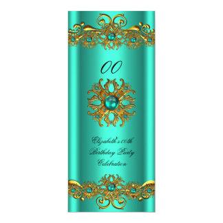 "Elegant Jade Green Jewel Gold Birthday Party 2 4"" X 9.25"" Invitation Card"