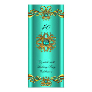 Elegant Jade Green Jewel Gold Birthday Party 4x9.25 Paper Invitation Card