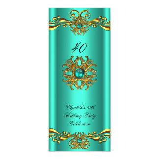 "Elegant Jade Green Jewel Gold Birthday Party 4"" X 9.25"" Invitation Card"