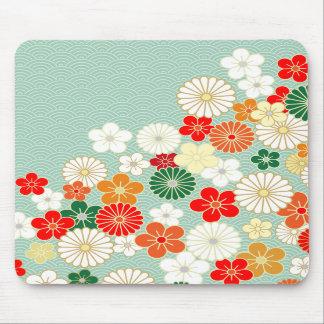Elegant Japanese Floral Pattern Mousepad
