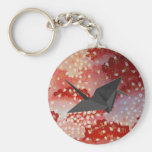 Elegant Japanese sakura Origami Swan Basic Round Button Keychain