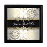 Elegant Jewel Black Damask Keepsake Gift Box