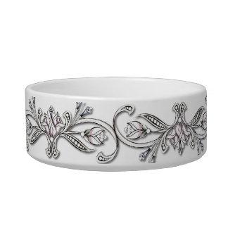 Elegant Jewel Print Cat Bowl