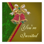 "Elegant Jeweled Bells Party Invitation 5.25"" Square Invitation Card"