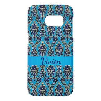 Elegant Jeweled Blue Damask Samsung Galaxy S7 Case