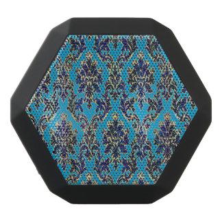 Elegant Jeweled Damask on Blue Black Bluetooth Speaker