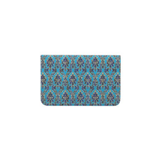 Elegant Jeweled Damask on Blue Business Card Holder