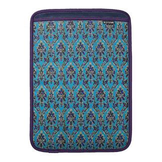 Elegant Jeweled Damask on Blue MacBook Sleeve