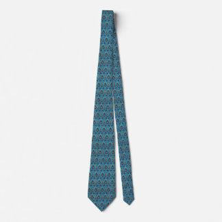 Elegant Jeweled Damask on Blue Tie