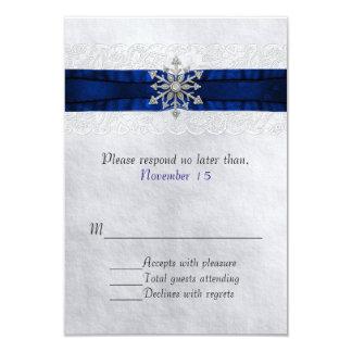 Elegant Jeweled Snowflake Wedding RSVP 3.5x5 Paper Invitation Card