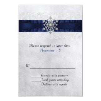 Elegant Jeweled Snowflake Wedding RSVP Card