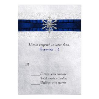 Elegant Jeweled Snowflake Wedding RSVP Personalized Announcement