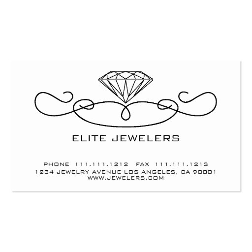 ELEGANT JEWELERS DIAMOND Double-Sided STANDARD BUSINESS CARDS (Pack OF 100)