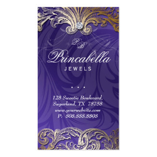 Elegant Jewelry Business Card Leaves Purple Gold