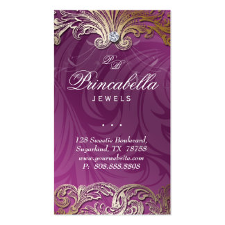 Elegant Jewelry Business Card Leaves Violet Gold