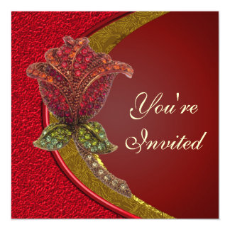 Elegant Jewled Rose Party Invitation