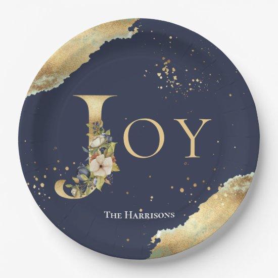 Elegant Joy Gold Foil Floral Blue Christmas Paper Plate