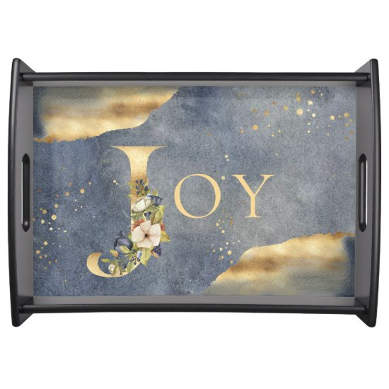 Elegant Joy Gold Foil Floral Blue Christmas Serving Tray