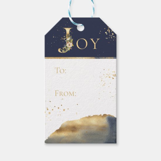 Elegant Joy Gold Foil Floral Merry Christmas Gift Tags