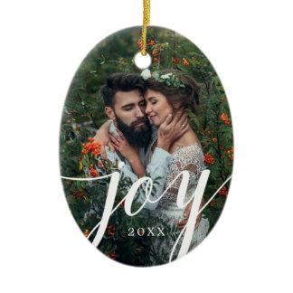 Elegant Joy Photo Christmas Ornament