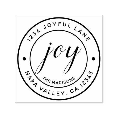 Elegant Joy Round Return Address Self_inking Stamp