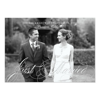 "Elegant Just Married Photo Marriage Announcement 5"" X 7"" Invitation Card"