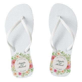 Elegant Just Married Wedding Flip Flops