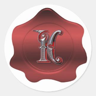 Elegant K Monogram Red Wax Seal Look Sticker
