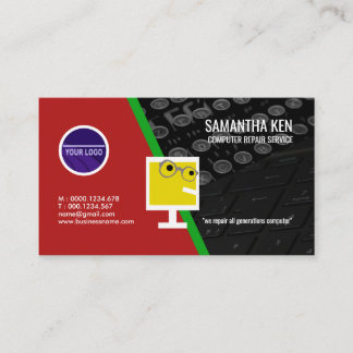 Elegant Keyboard PC Repair Services Business Card