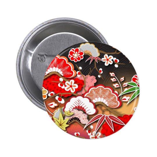 Elegant Kimono - Japanese Design Pinback Button