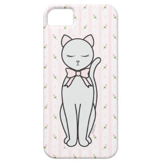 Elegant Kitty with Rosebuds & Striped Background iPhone 5 Covers