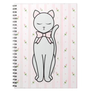 Elegant Kitty with Rosebuds & Striped Background Notebook