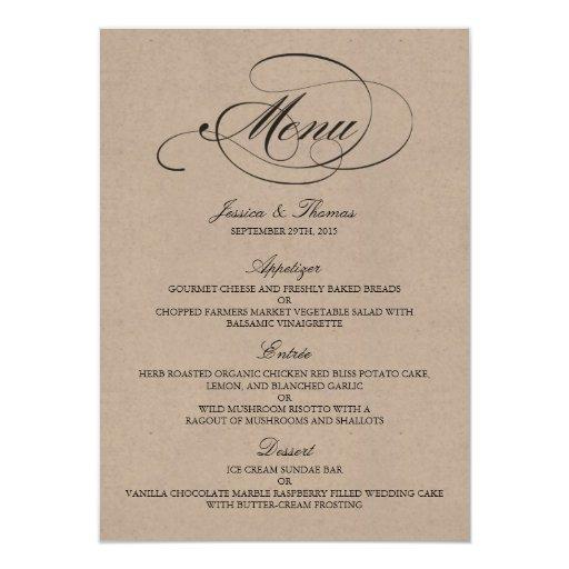 Design Templates Menu Wedding Menu Samples Elegant Kraft
