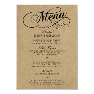 Wedding Menu Cards Zazzle