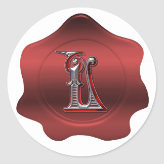 Elegant L Monogram Red Wax Seal Look Sticker