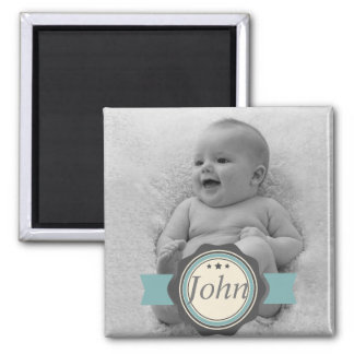 Elegant Label Baby Photo Keepsake - Blue and Grey Magnet