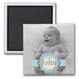 Elegant Label Baby Photo Keepsake - Blue Refrigerator Magnets