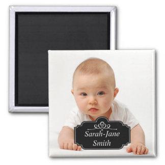 Elegant Label Baby Photo Keepsake - Dark Grey Fridge Magnets