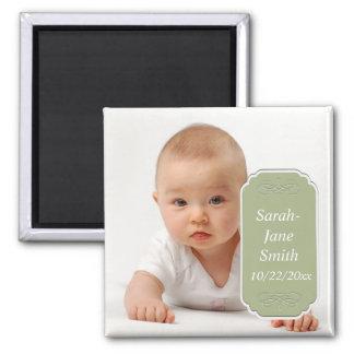 Elegant Label Baby Photo Keepsake -Green Fridge Magnets