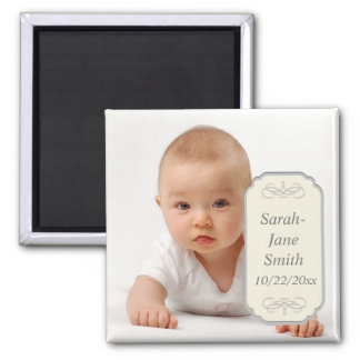 Elegant Label Baby Photo Keepsake Magnet