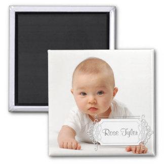 Elegant lable Baby Keepsake - White Magnet