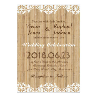 Elegant Lace and Bamboo Mats Wedding Invitation