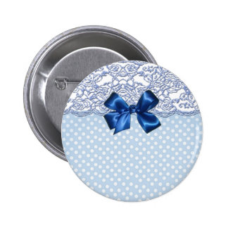 Elegant Lace And Cute Polka Dots Pinback Button