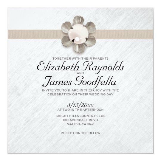Pearl And Lace Wedding Invitations: Elegant Lace And Pearl Wedding Invitations