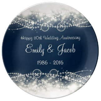 Elegant Lace and Pearls 30th Wedding Anniversary Porcelain Plate